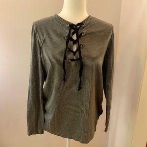 Angels Forever young gray striped tee, size M